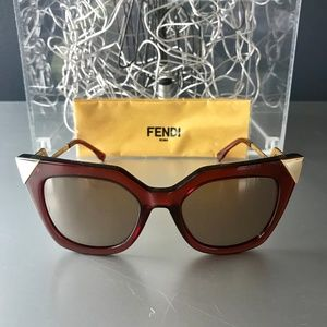 Fendi Iridia Mirror-Gold Tip Cat-Eye Sunglasses